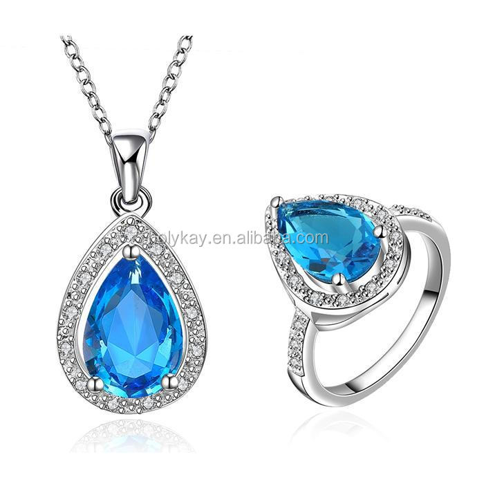 Fashion blue stone jewelry set, hot new products for 2014