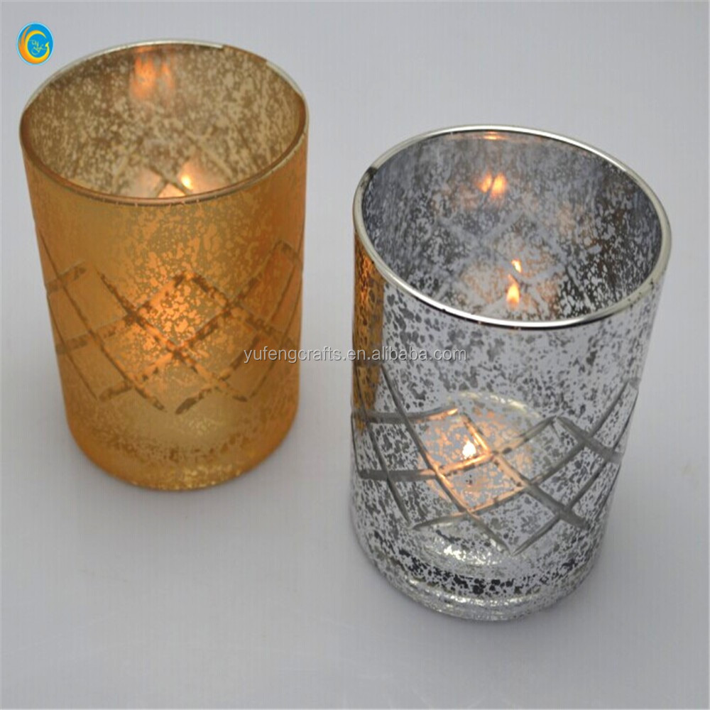 tea cup votive silver gold mercury glass candle holder