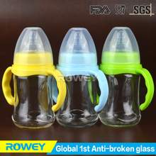 Green lowest price glass baby bottles excess inventory for sale