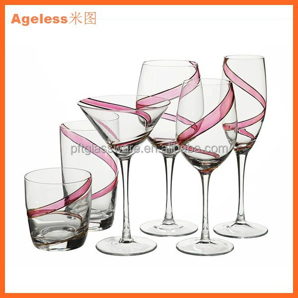 China glassware factory design custom engraved color red wine glass champagne glass