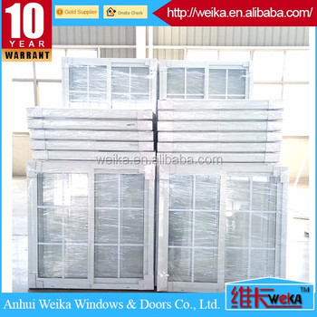 single glass double sliding pvc window with grill design
