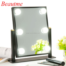 LED Lighted Tabletop Makeup Mirror with 360 Degree Rotating Adjustable Brightness