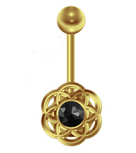 Stainless steel flower navel ring in silver and gold color with black gem
