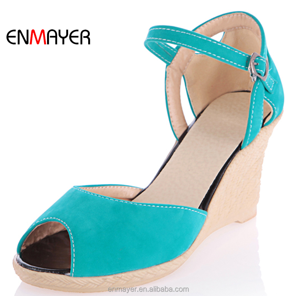 Hot sale peep toe real pu no heel wedge shoes <strong>sandals</strong> with metal buckle strap
