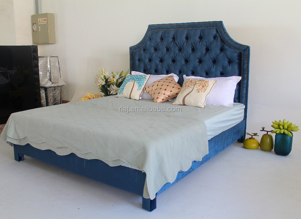 Soft blue king/queen hotel bedroom furniture bed of modern style