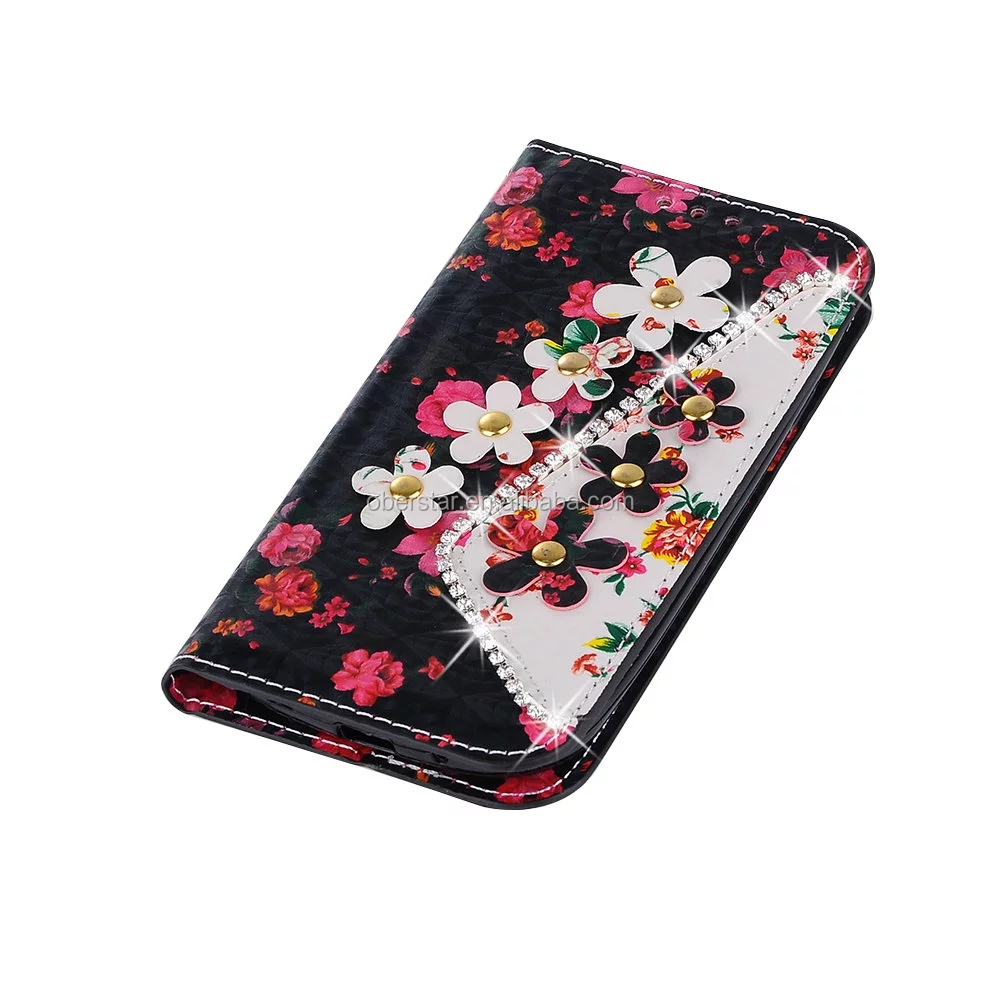 For Samsung galaxy S3 Diamonds pearls Flowers Printing PU Leather Media Stand Folio Book Case Cover
