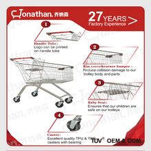 New style stainless steel shopping cart with 4-5 inch wheels for sale