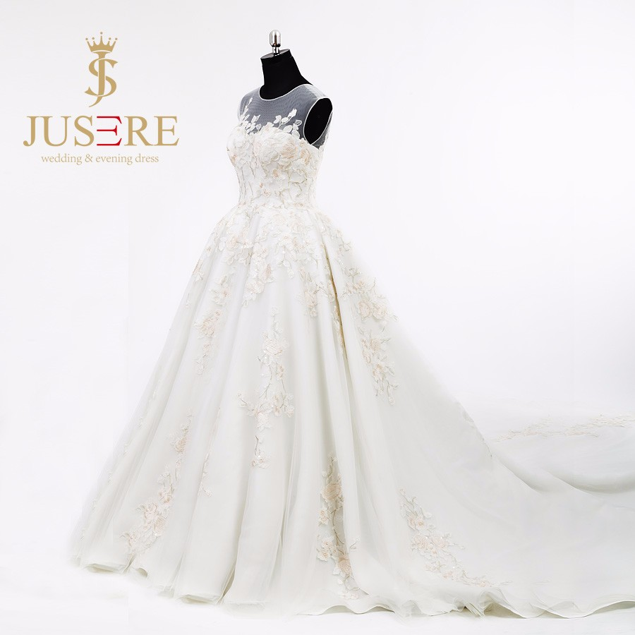 Classic Scoop Neckline Long Embroidery Wedding Dress Bridal wedding dress 2016 ball gown