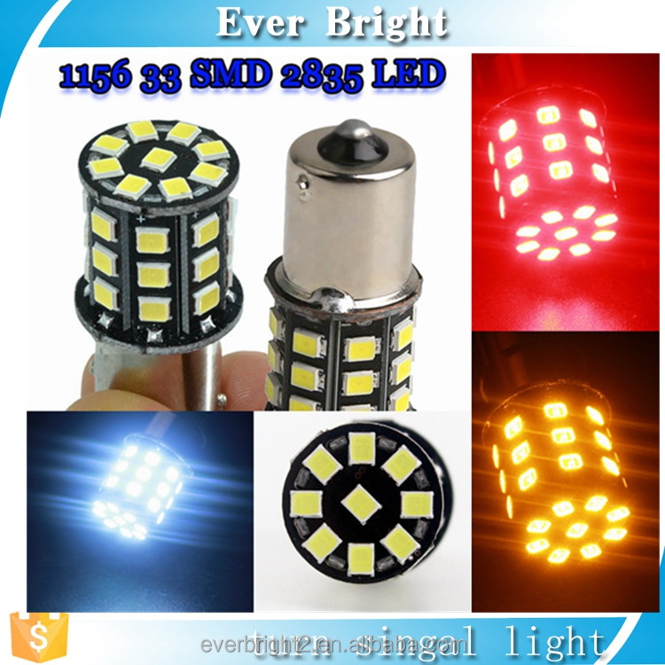 Car led lights source S25 33smd 2835 p21w 1156 ba15s rear bulb auto external lamps turn signal light car styling