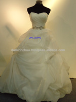 Strapless Organza Ball Gown with Beaded Sash Wedding Dress