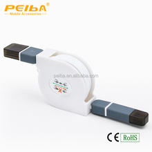 2in1 Charging Cable, 3ft Retractable Micro USB Data Transfer Connector Cable, for Samsung/HTC and Other Andriod Device