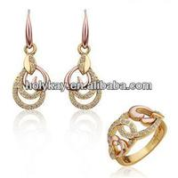 2014 hot online selling antique gold plating indian style crystal heart shape jewellery set