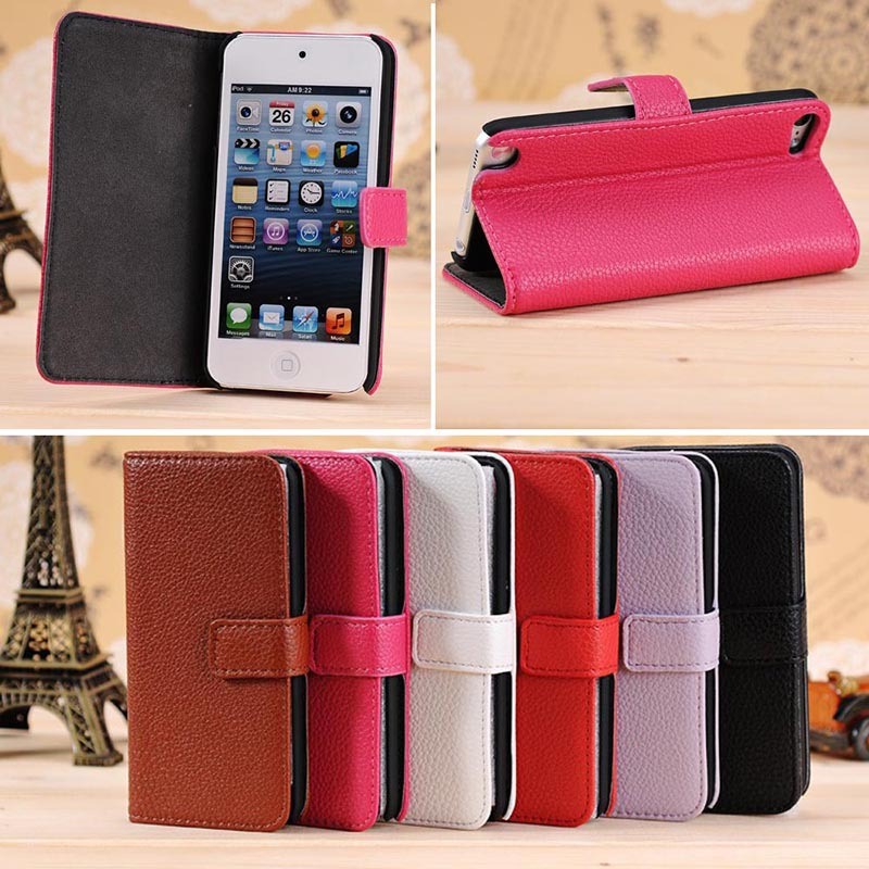 Classical litchi pattern leather case for iPod Touch 5 mix color