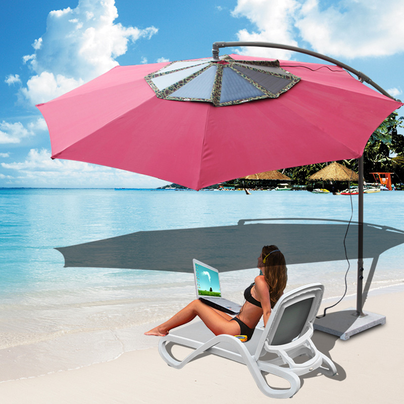 High quality foldable  60W solar umbrella solar charger for coffee shop, beach, square, seashore etc