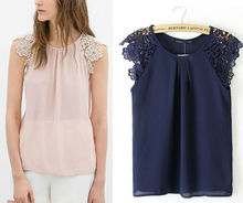 Z60812w woman's embroider flower chiffon t-shirt