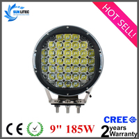 high power offroad 9 inch round 185w 15000lm 12V auto car led driving lights