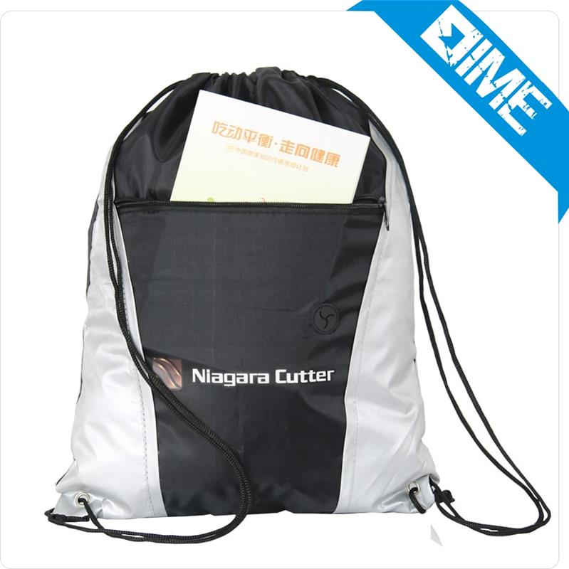 Clear School Drawstring Bag With Front Zipper Pocket