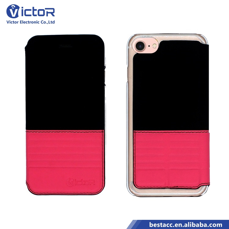 Special design contrast color flip cover for iPhone 7 leather case