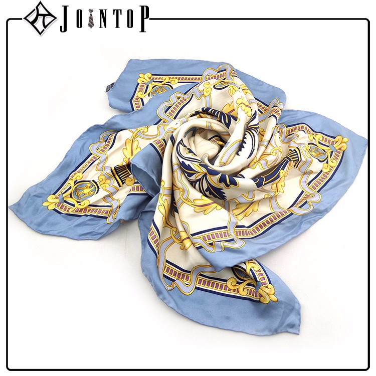 custom woman fashionable square silk lady scarf wholesale