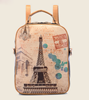 Fashion New Designer Eiffel Tower Stamp Printing Pu Leather School Backpack Bag Satchel Bag Rucksack Knapsack For Girls Women