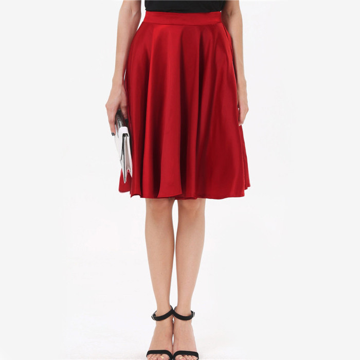 2015 New Arrival Summer Women Fashion Red High Waist Pleated A Line Skirt