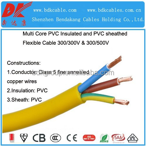 300/500v rvv cable electrical cable h05vv-f yellow and green wire electric cable 0.5mm 3 core flexible copper wire 3 core wire