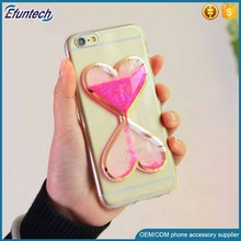 Girls use transparent fluorescence light heart liquid sand cell phone case for iphone 6s case