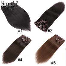 New Arrival 75g--220g Customized 100% Human Virgin Hair Double Drawn Thick Ends Remy Clip In Hair Extension