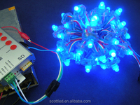 9mm SM16703 led pixel string light,DC5V input;1pcs 5mm RGB Round Hat LED;50pcs a string,waterproof IP68