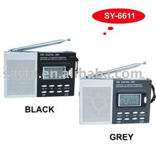 (SY-6611) FM/MW/SW 1-7 Hi-sensitivity mini digital multiband radio with alarm clock