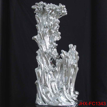 Electroplate Silver Resin Decorative Abstract Silver Sculpture for Home Decor