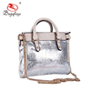 Guangzhou wholesale metallic silver PU bags handbags metal chain women purse