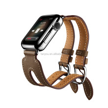 Fashion 38MM 42MM Double Buckle Cuff Genuine Leather Apple Watch Band With Stainless Steel Adapter Smart WristBand iwatch Strap