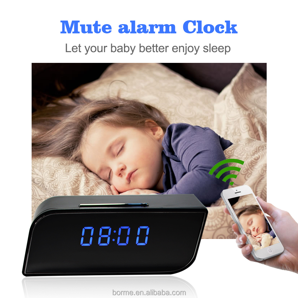 WIFI Wireless Wall Clock Hidden Camera with TF card remote control /digital cmos clock camera