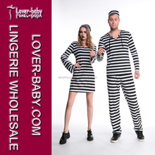 Stage Show Performance Clothing New Funny Women Prisoners Costumes Striped Dresses Party Occasion Costume Cosplay Wear L15313