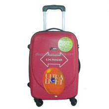 20inch cabin size abs plastic material luggage with fabric luggage cover