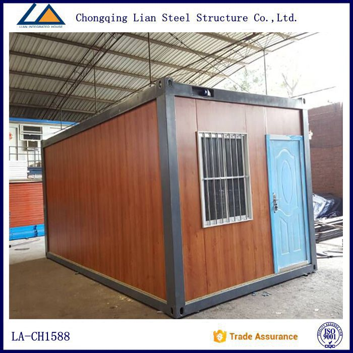 Wooden color light steel frame one bedroom container house