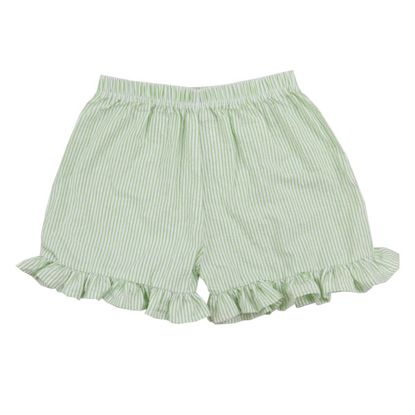 Wholesale Soft Seersucker Child Clothing Boutique Ruffle Girl's Shorts