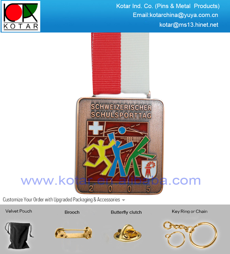 Custom good quality antique finish sport medal with soft enamel