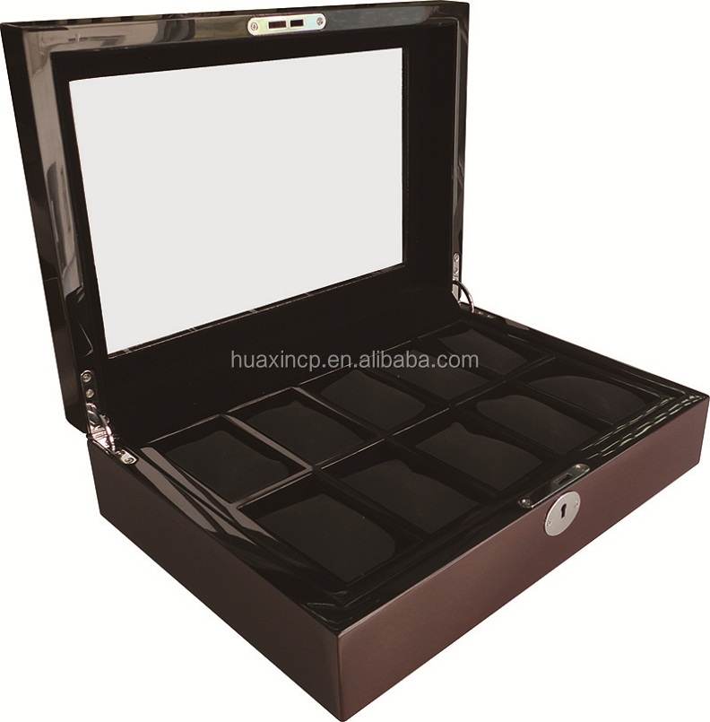 8 Slots Wooden Key Lock Watch Box with Clear Acrylic Window
