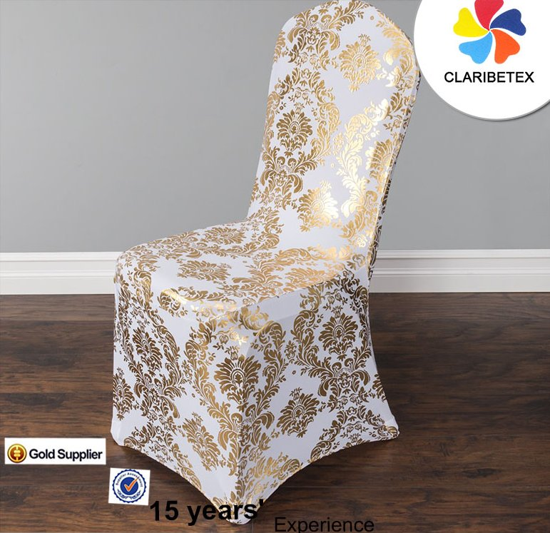 wholesale factory Promotion metallic stamping gold spandex Chair cover for wedding, party decoration