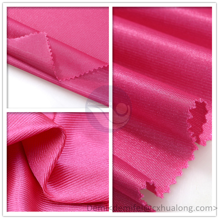 100 % polyester Tricot plain lining / mercerized fabric / dazzle cloth for sportswear