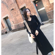 2018 women's long-sleeve V-neck basic slim waist lacing thick knitting pattern sweater dress tight one-piece dress