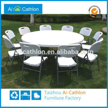 Round Folding Catering Tables and Chairs,Plastic Round Table Foldable Banquet Table ,6FT Plastic Round Dining Table
