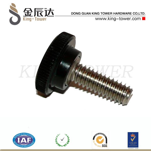Chinese manufacture plastic head stainless steel thumb screw M6 (with ISO card)