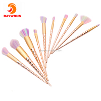 Daywons 10 Pieces Professional Rainbow Unicorn Spiral Makeup Brushes Foundation Eyebrow Eyeliner Blusher Cosmetic Beauty Brush