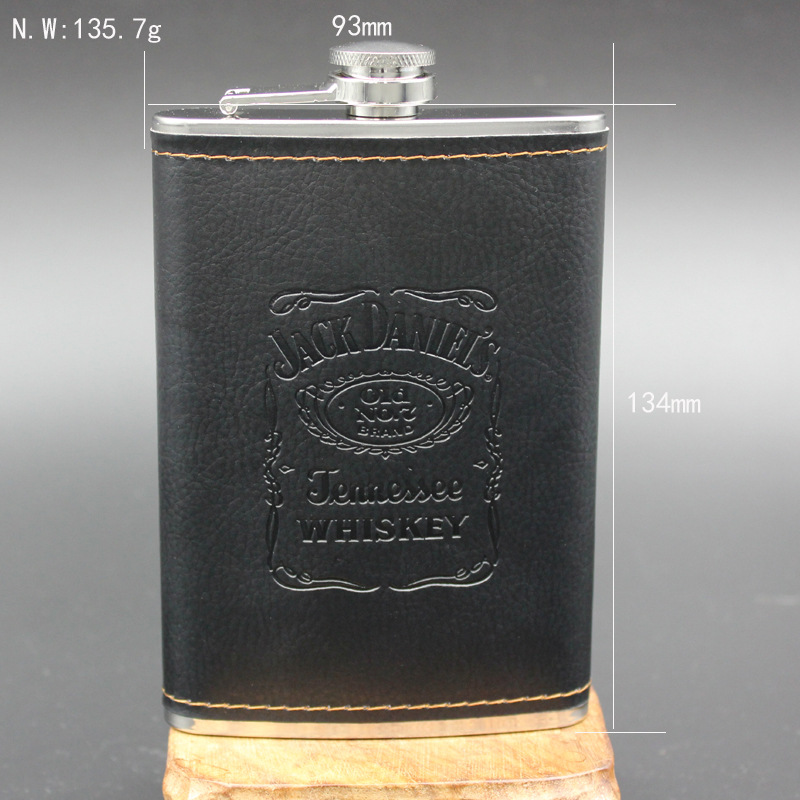 Logo Customized Embossed 9 oz Stainless Steel Hip Flask With PU Cover