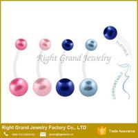 Flexible Bio Flex 38mm Length Pink Blue Pearl Ball Pregnant Navel Ring