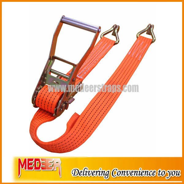 BS 5000kg Cargo Container Lashing Belt With Double J Hooks Complies To EN12195-2