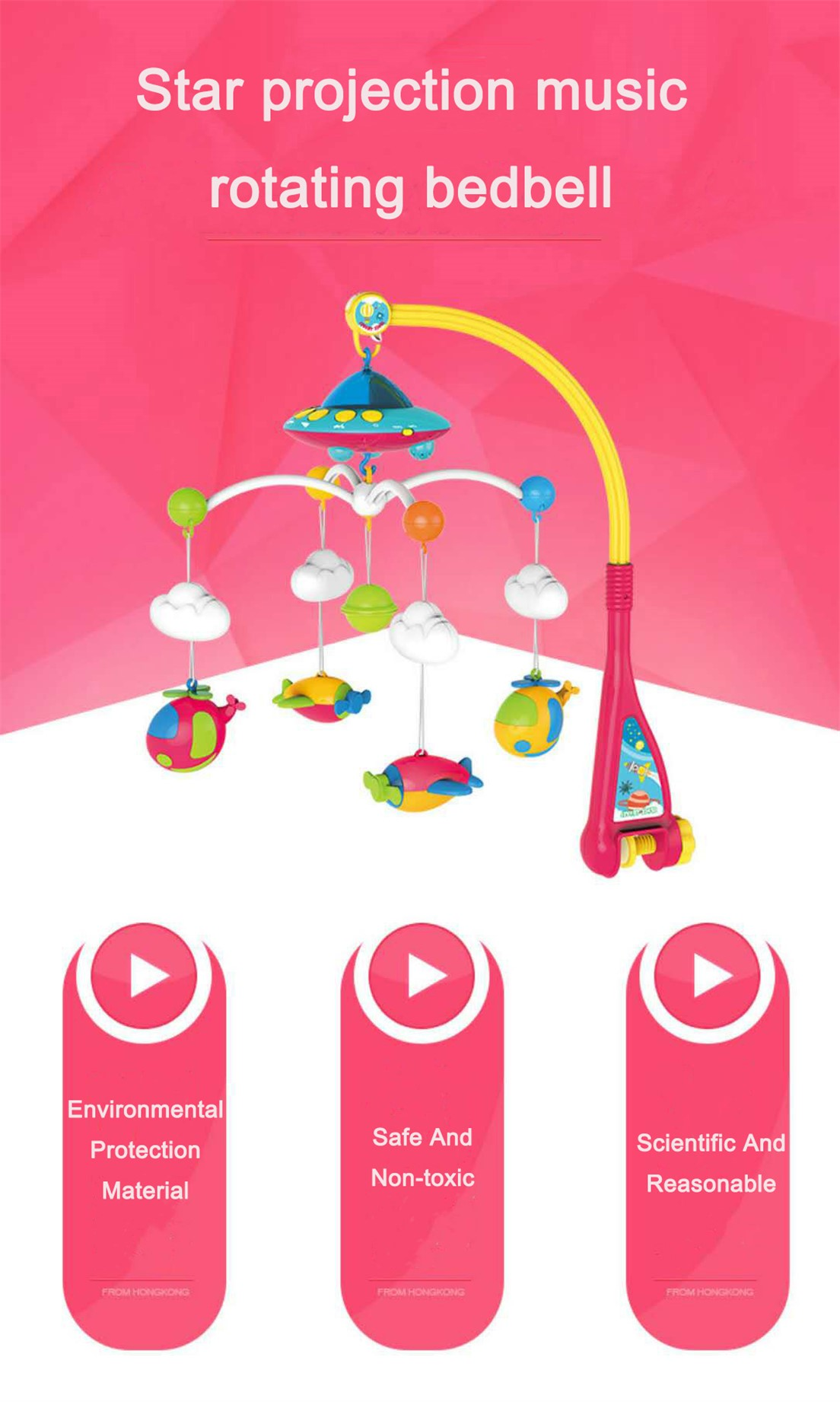 Hot Sale Star Projection Music Rotating Baby Bed Bell With Hanging Toy
